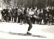 Frank Chida skiing backwards, 1950s? photo by Dick Ronning