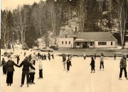 Ice skaters by Chalet at Chester Bowl, circa late 40s early 50s