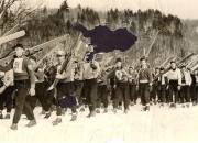 Procession of ski jumpers, place and date unknown